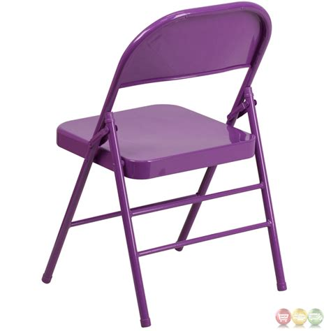 purple folding chair colorburst impulsive purple braced hinged
