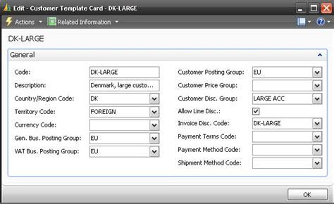 customer card template configure the prospect template