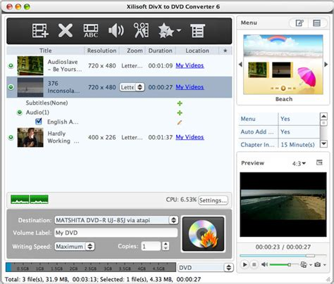 format dvd rw mac os x download xilisoft divx to dvd converter for mac 6 2 1 0318