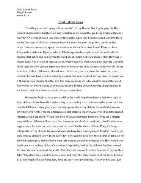 Child Labor Essay speech on child labour essay