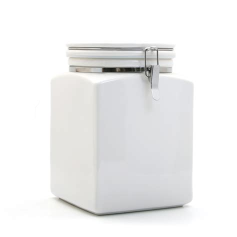 square canister l with ceramic spoon