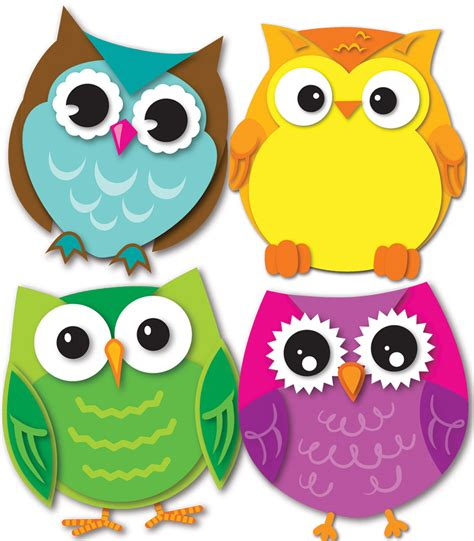 colorful owl colorful owls mini cut outs grade pk 5 carson dellosa