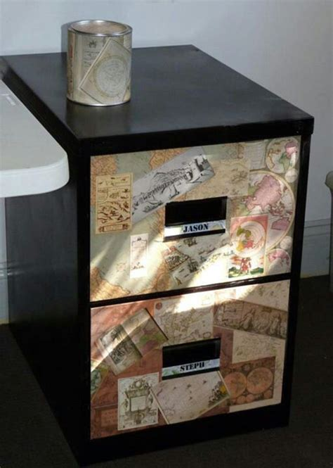 Mod Podge Cabinets by Mod Podge Filing Cabinet I Refinished Using Maps