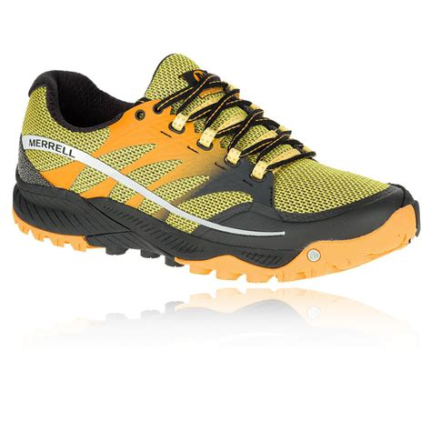 all black sport shoes merrell all out charge mens yellow black cushioned walking