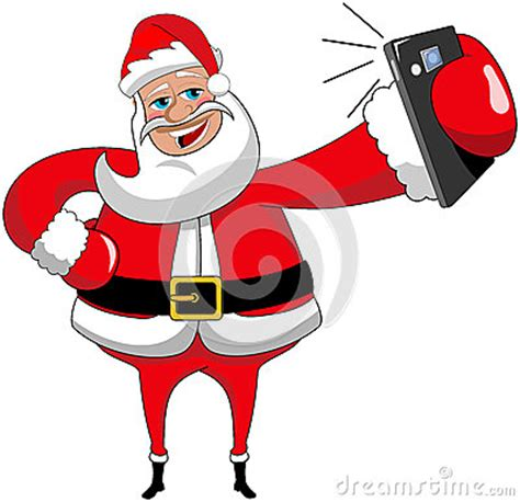 christmas santa claus selfie isolated smartphone