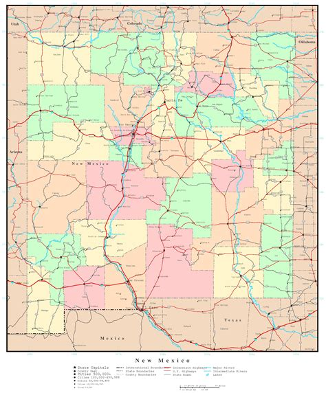 road map of nm new mexico political map