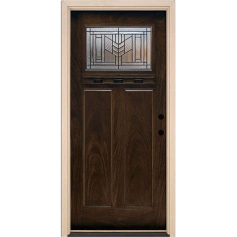 Feather River Doors 37.5 in. x 81.625 in. Phoenix Patina Craftsman Stained Chestnut Mahogany