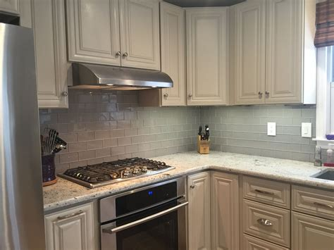 Grey Glass Subway Tile Kitchen Backsplash With White Glass Subway Tile Kitchen Backsplash