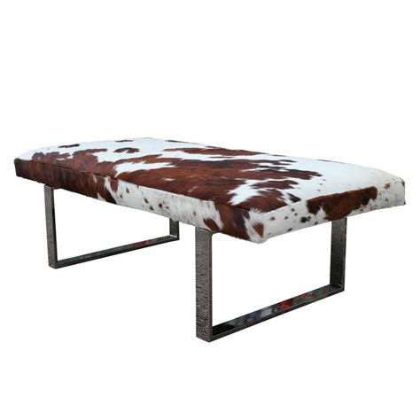 modern white leather and chrome bench ottoman striking cowhide and chrome bench of ottoman at 1stdibs