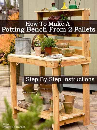 how to make your own bench how to make your own potting bench from 2 pallets