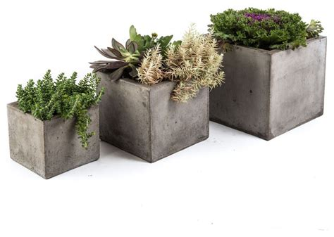 Gray Outdoor Planters Cubo Planter Charcoal Grey Small Contemporary Outdoor