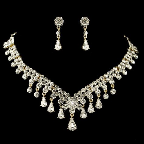 rhinestone for jewelry gold clear teardrop rhinestone flower jewelry set
