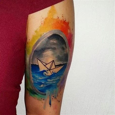 watercolor tattoo emrah paper ship best ideas gallery