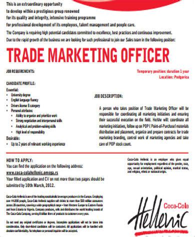 trade marketing description 9 marketing officer description sles sle