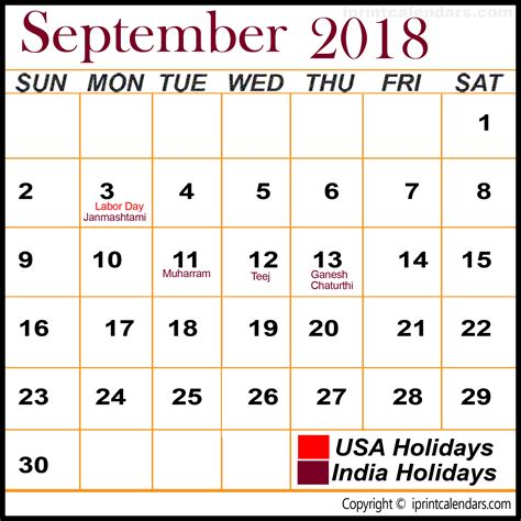 Calendar Sept 2018 September 2018 Calendar With Holidays Templates Tools