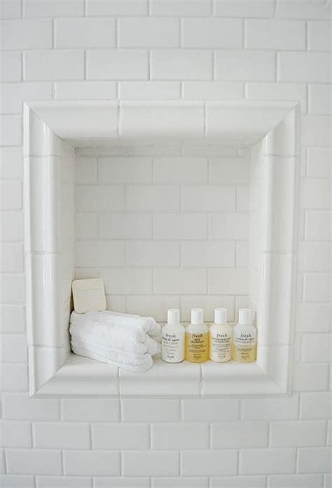 white subway tile bathroom shower niche white subway tile  chair rail trim home