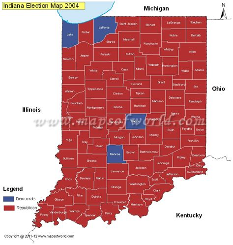 political map of indiana indiana election results map 2004 vs 2008 us election