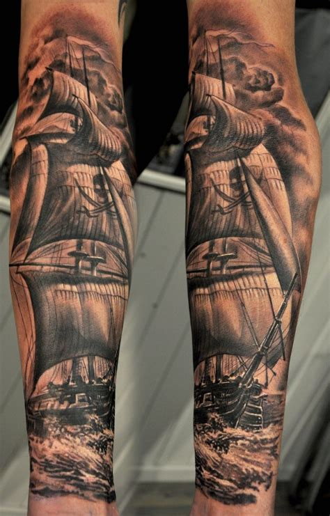 pirate sleeve tattoo designs black ink pirate ship design for sleeve