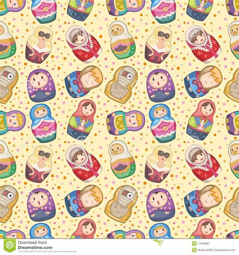 russian pattern vector seamless russian dolls pattern stock vector image 17634897