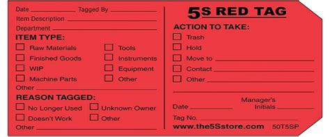 5s Red Tag Strategy Business Building Information 5s Tag Template