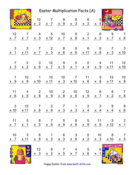 easter multiplication worksheets easter multiplication facts to 144 a