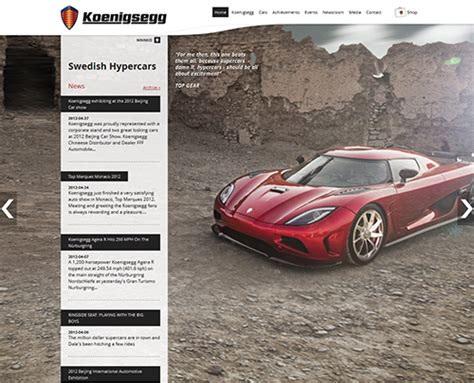 Koenigsegg Official Website Automobile Websites 20 Awesome Exles Of Automobile