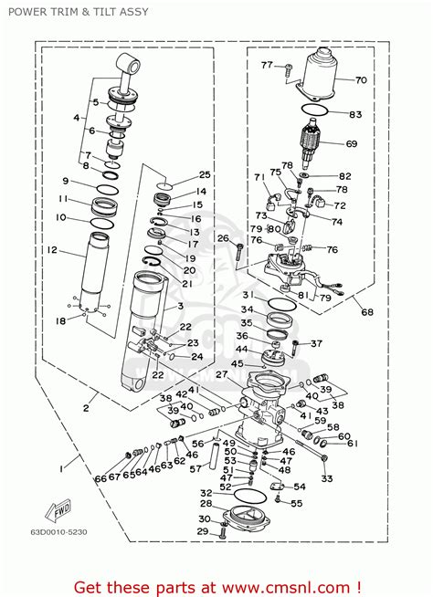yamaha f50 t50tlry 2000 power trim tilt assy schematic