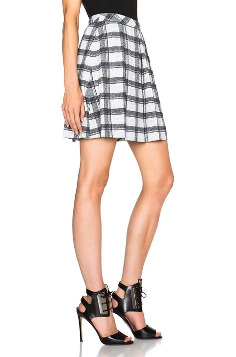 proenza schouler small plaid pleated skirt in black lyst