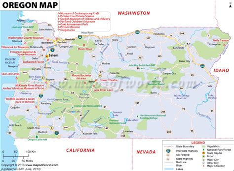 oregon connecticut and united states map on pinterest oregon map showing the major travel attractions including