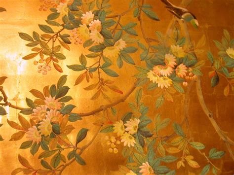 gold wallpaper panels four panels chinese hand painted wallpaper in gold leaf at