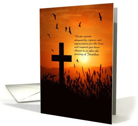 custom   funeral service sunset cross card