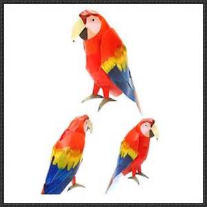 Parrot Template by Animal Paper Model Scarlet Macaw Free Template