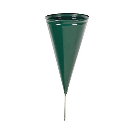 novelty 05041 metal cone cemetery vase green new free