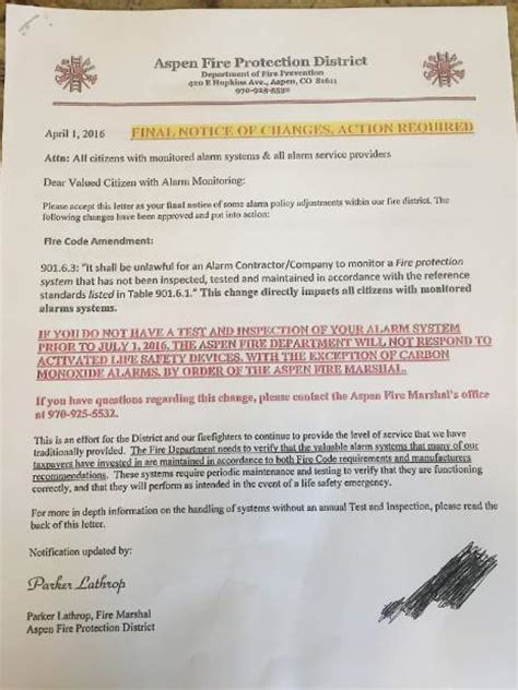 Aspen Fire Alarm Letter Prompts Resignation Disbelief Aspentimes Com Alarm Testing Notice Template