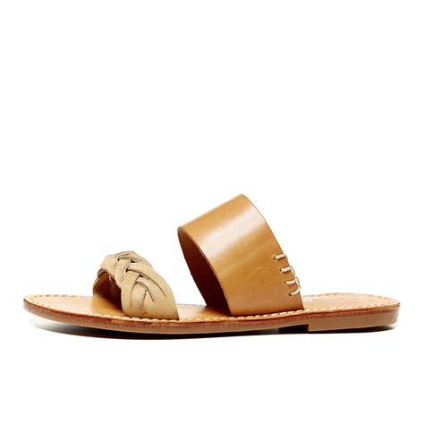 braided sandal soludos leather braided slide sandal in brown vachetta