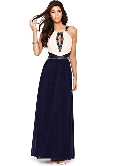 A Pretty Embellished Navy Dress From Warehouse by Lace Insert Embellished Maxi Dress In