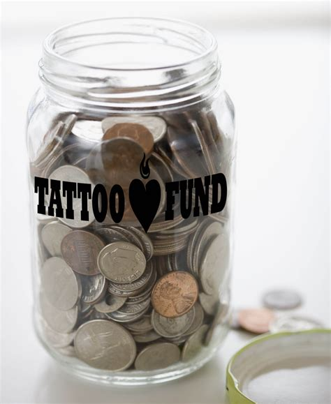 tattoo fund money jar vinyl sticker decal 1 5h x