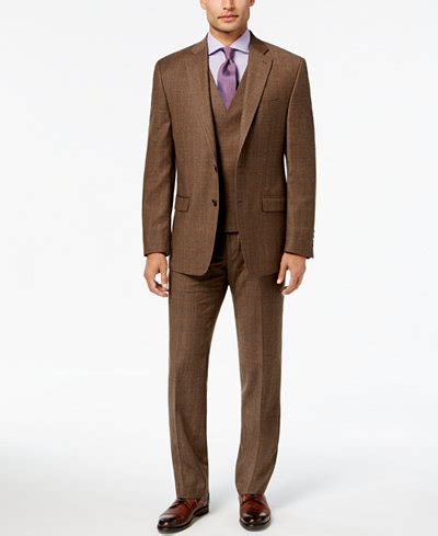 Kemeja Flannel Classic Tartan Square Brown 1 ralph s classic fit ultraflex brown plaid flannel suit separates macy s