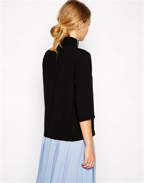 Cleaning Your Neck by Lyst Asos Top With Clean High Neck In Black