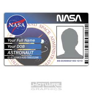 novelty id template personalised printed novelty id space exploration nasa