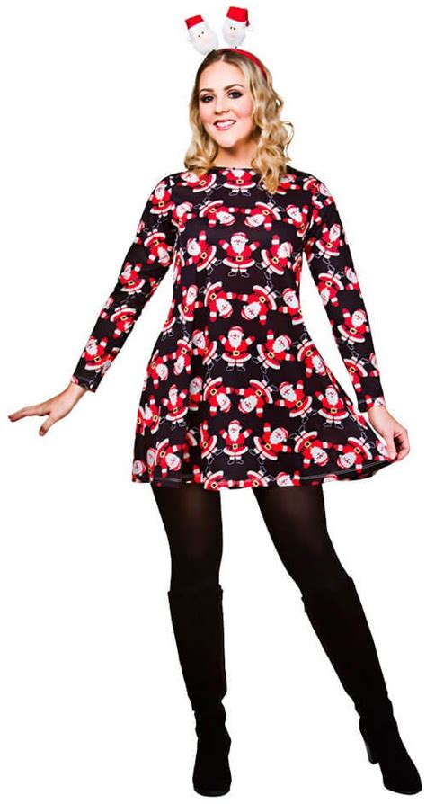 ladies black christmas dress with santa s fancy dress outfit