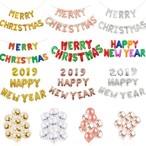 merry christmas happy  year   inflating foil balloon banner bunting ebay