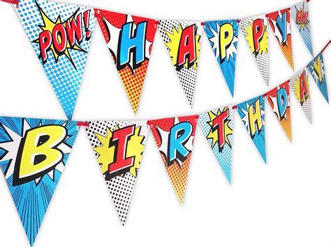 printable happy birthday superhero banner superhero red happy birthday banner pennant party supply