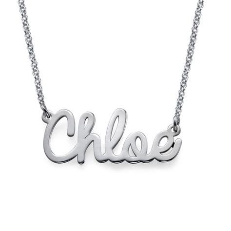 Name Plate Necklaces Gold Collana Con Nome In Corsivo In Argento Collanaconnome