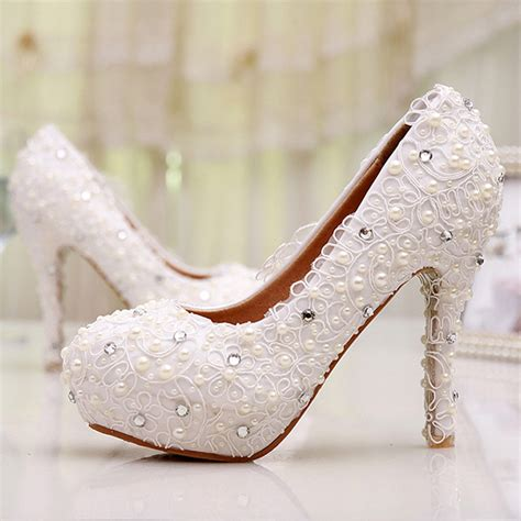 comfortable bridesmaid shoes free shipping plus size lace wedding shoes white high heel