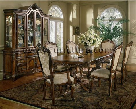 french provincial double pedestal dining table  wood