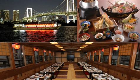 dinner on a boat in the bay tokyo tour yakatabune dinner cruise tour