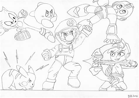 super mario smash brothers free coloring pages