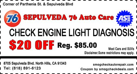 free check engine light diagnosis 29 75 star smog check with smog coupon
