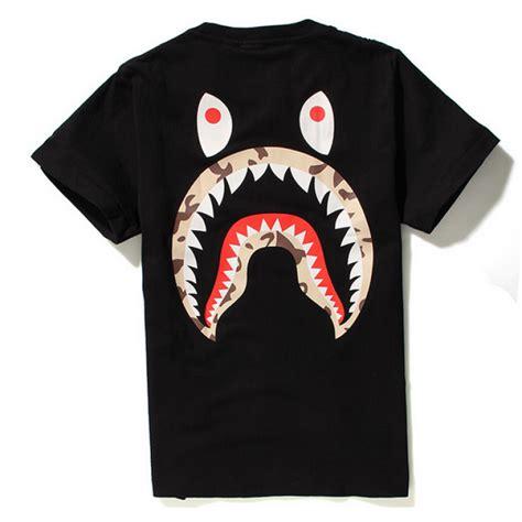Kaos Bape Tees A Bathing Ape Tshirt Bapeshark Bape Shark 2 a bathing ape quot stussy camo shark quot t shirt black